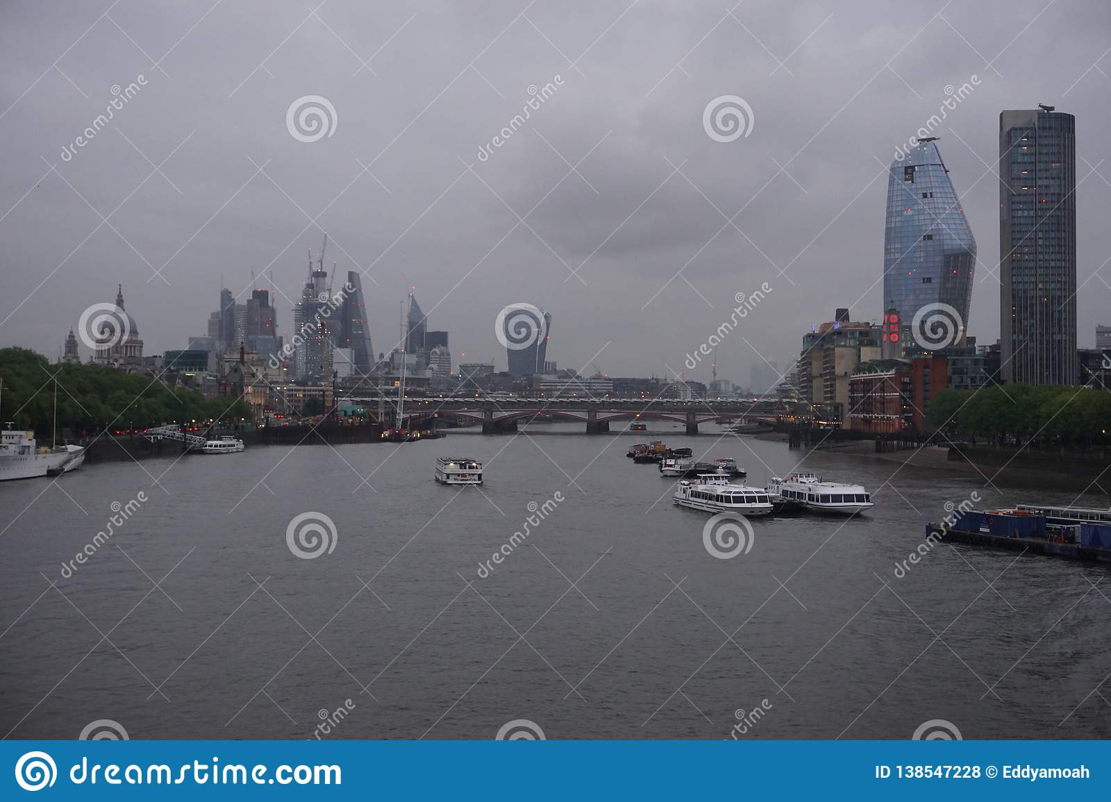 Capital-view: London skyline in a typical English weather.