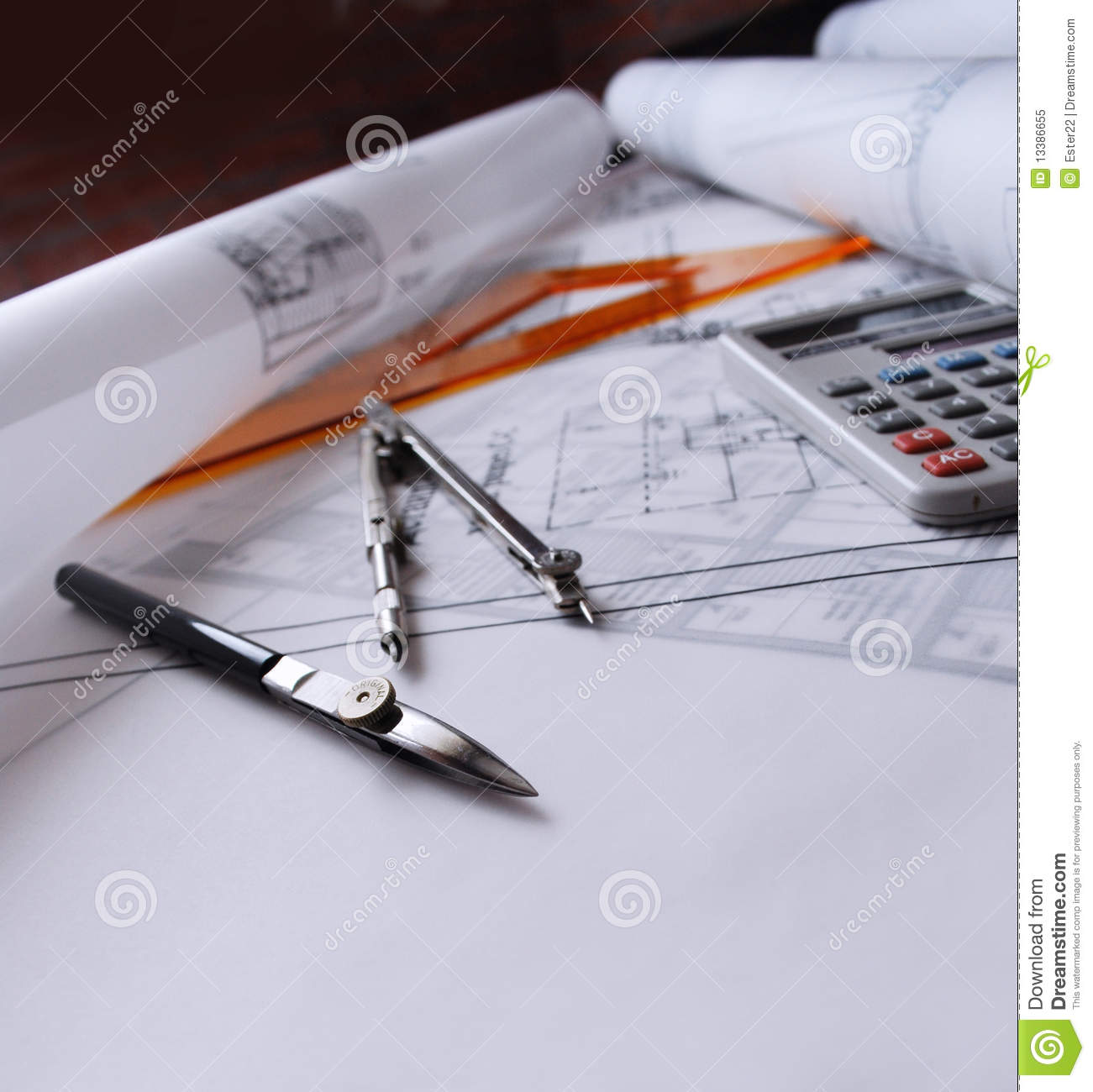 Architecture Drawing Instruments instruments for drawing on a graph paper. stock image - image