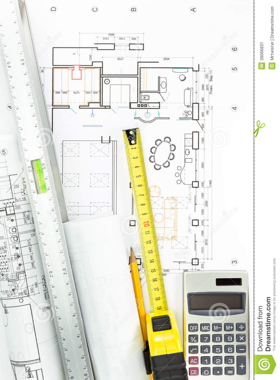 Architectural drawing detail and measurement tools stock for House construction plans