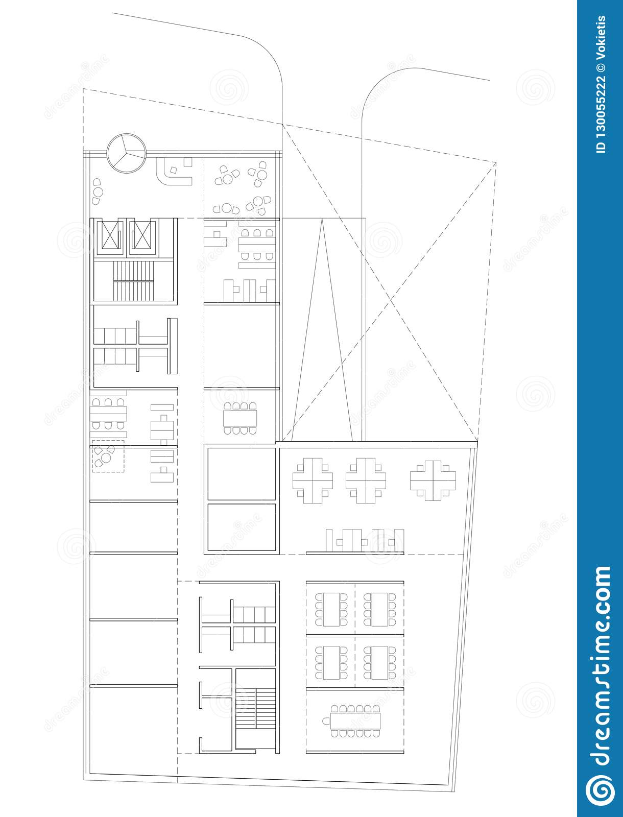 2d Drawing Floor Plan Of The Commercial Building Stock Illustration Illustration Of Commercial Contemporary 130055222