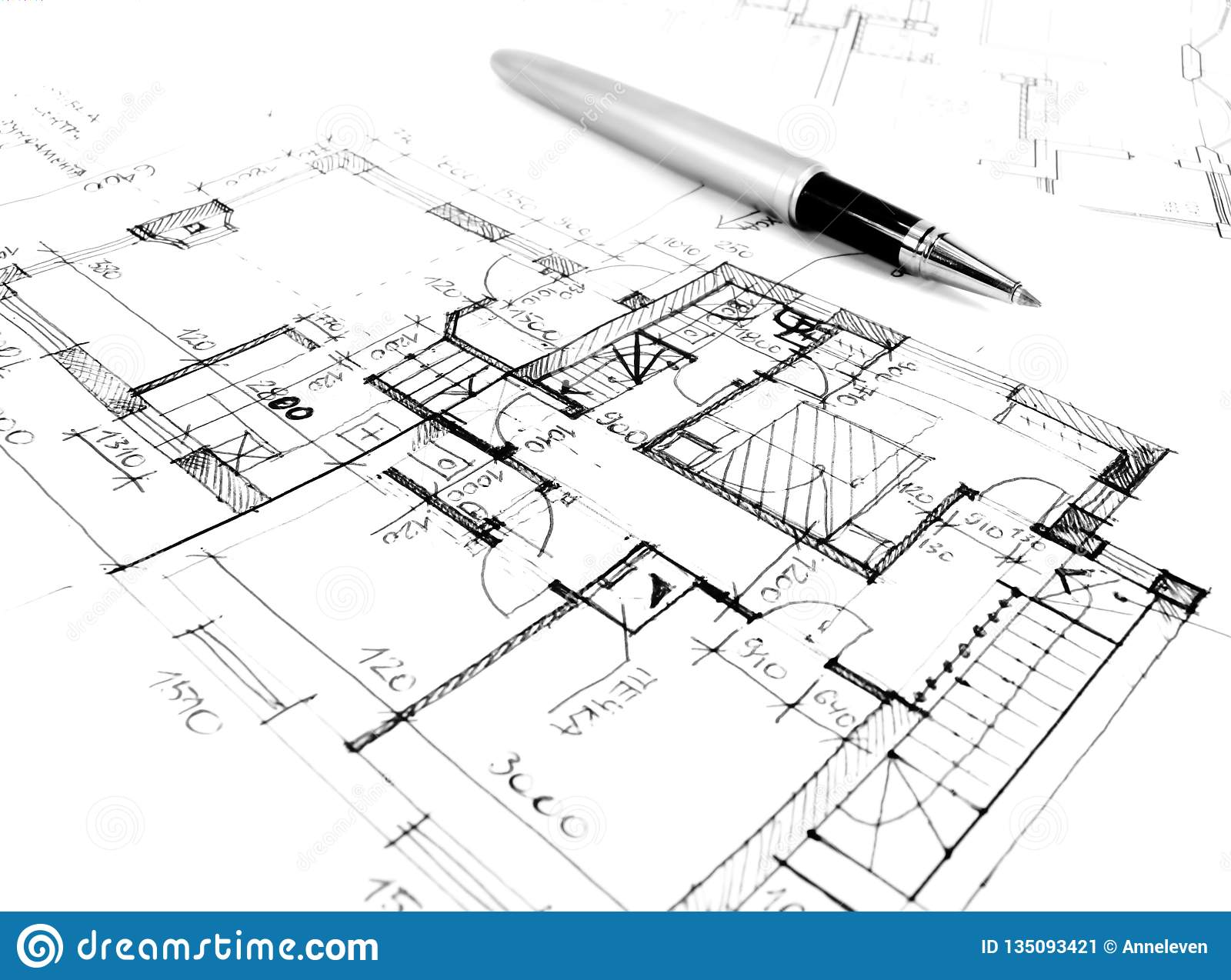 architectural drawing plan of house project - architecture, engineering and real estate styled concept