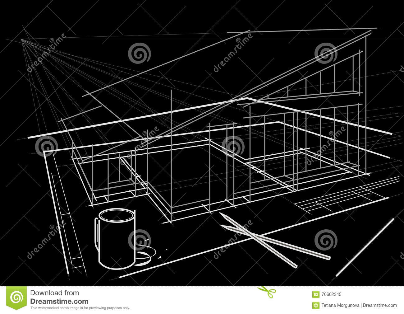 Architectural Drawing On Table With Pencils And Coffee Cup On