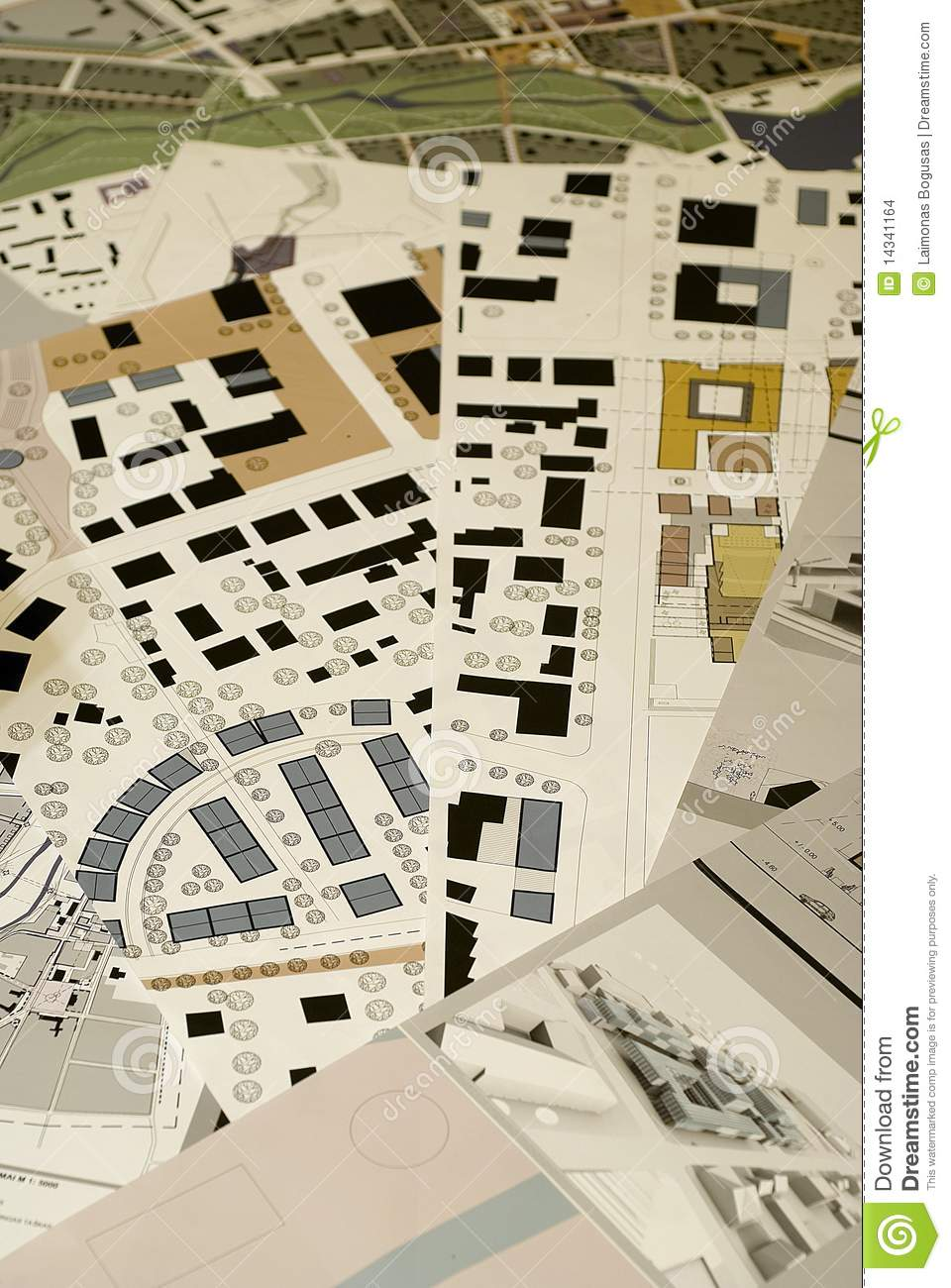 Architectural drawings blueprints city planning stock for Blueprint architects