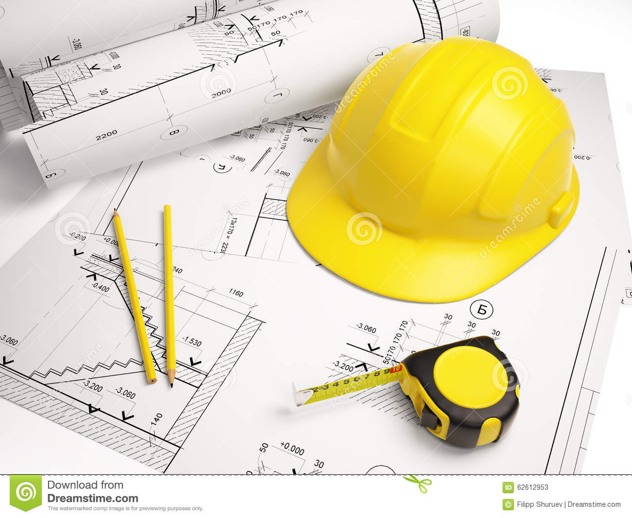 Architectural Drawings With Construction Tools