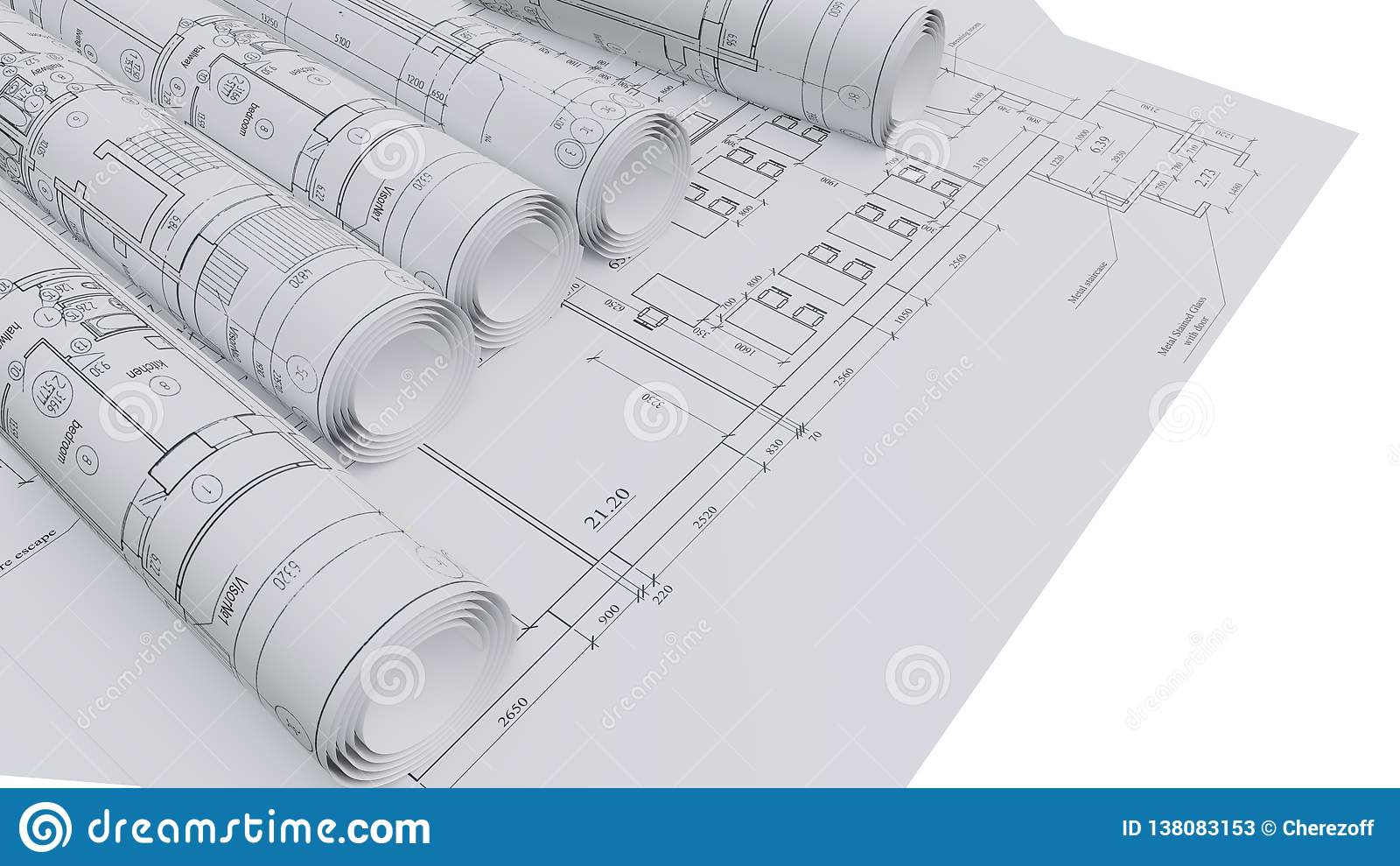 Architectural Drawings  Flat And Rolled Stock Illustration