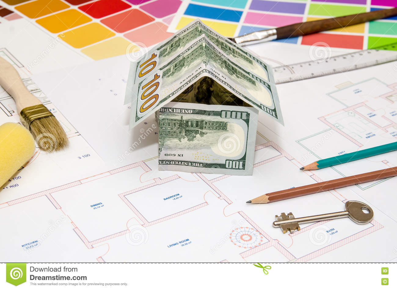 Architectural Drawings For Houses With Dollar Paints Stock Photo