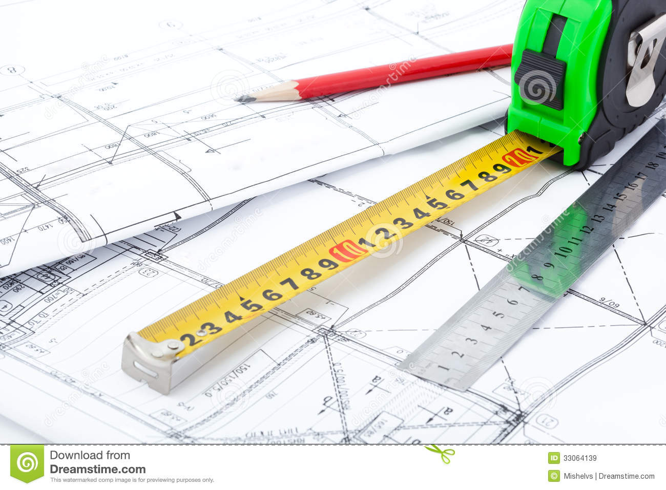 Architectural Drawings And Measurement Tools Royalty Free