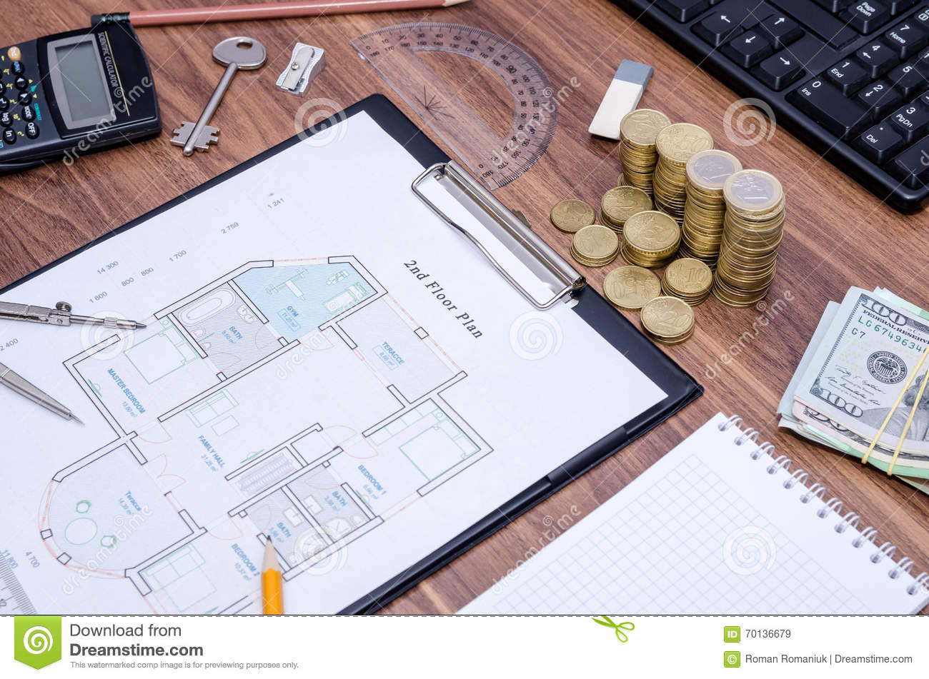 Design drawings calculator p royalty free stock image for Home building calculator