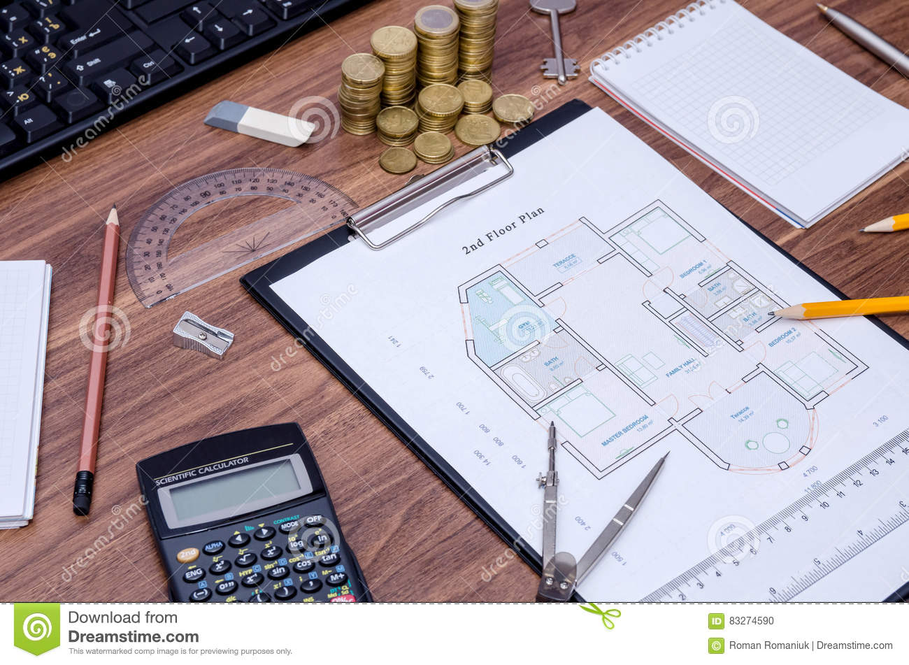 Design Drawings Calculator P Royalty Free Stock Image