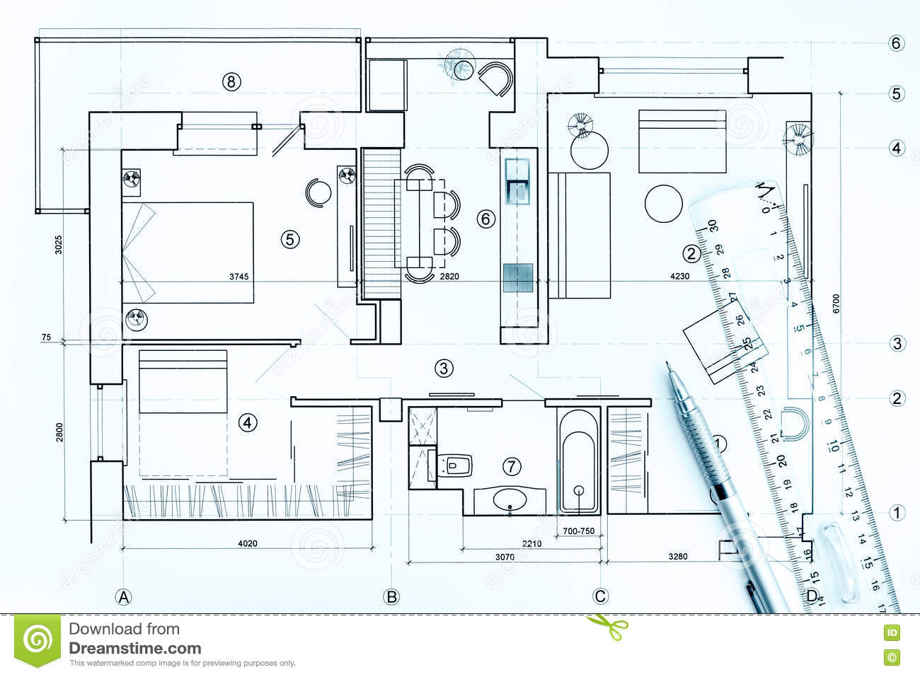 architectural drawings with pencil and ruler stock photo image of