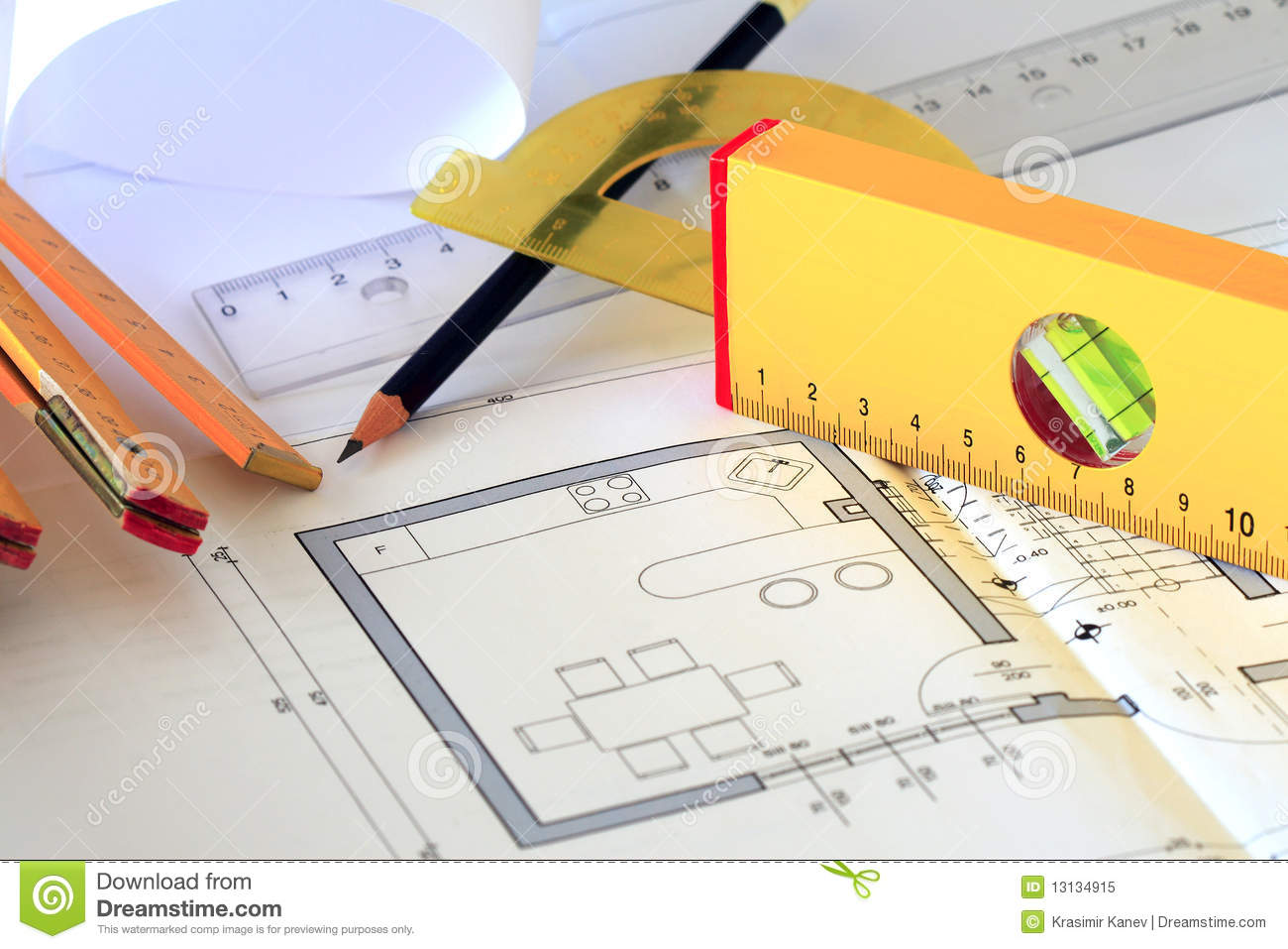 Architectural Drawings And Tools Royalty Free Stock Photo
