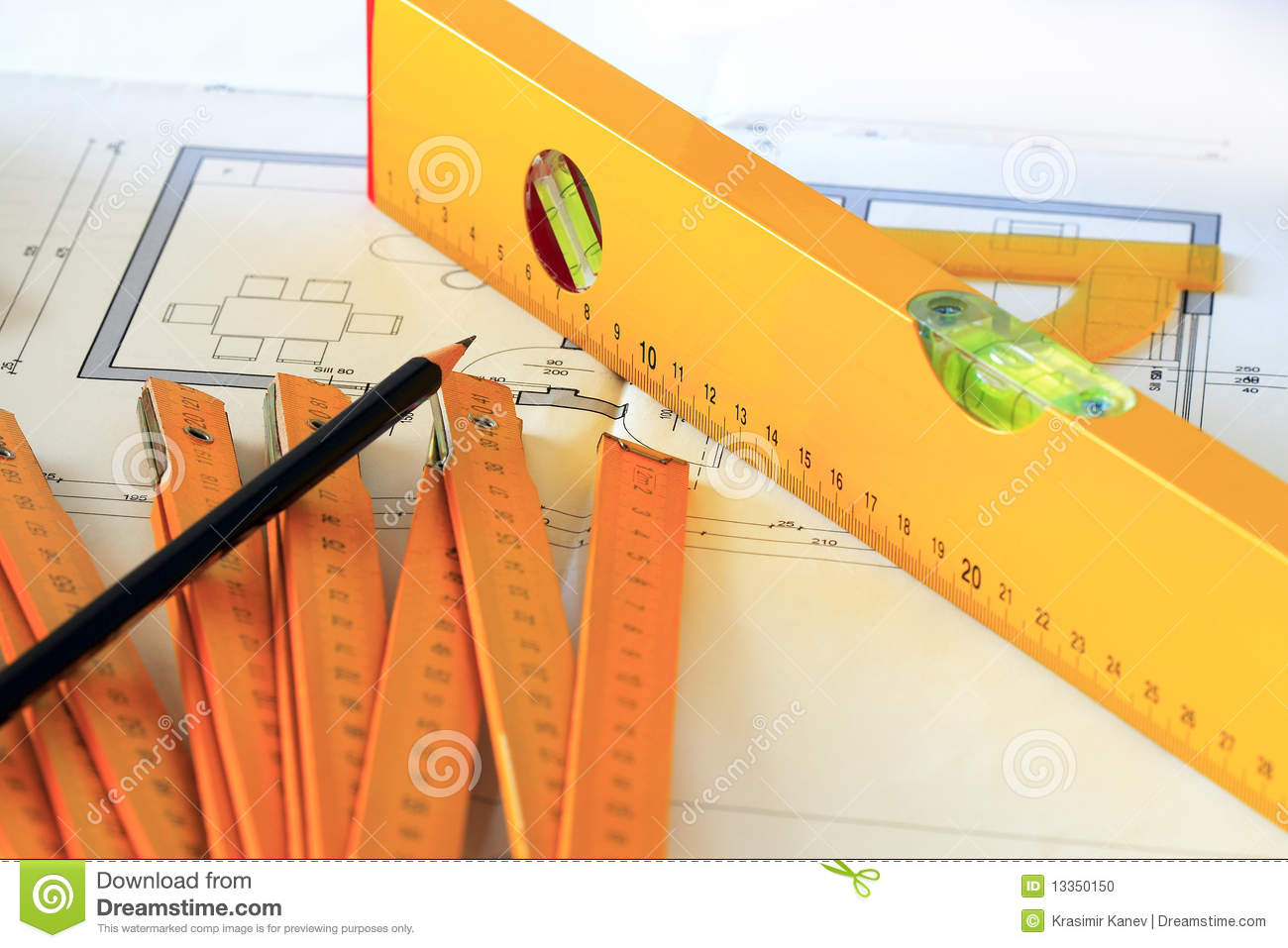Architectural Drawings And Tools Stock Photo Image 13350150