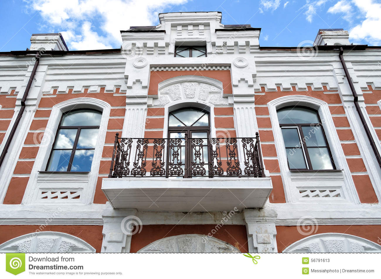Decorative Sculptural Elements On The Facade Of The Old Building Stock Photography