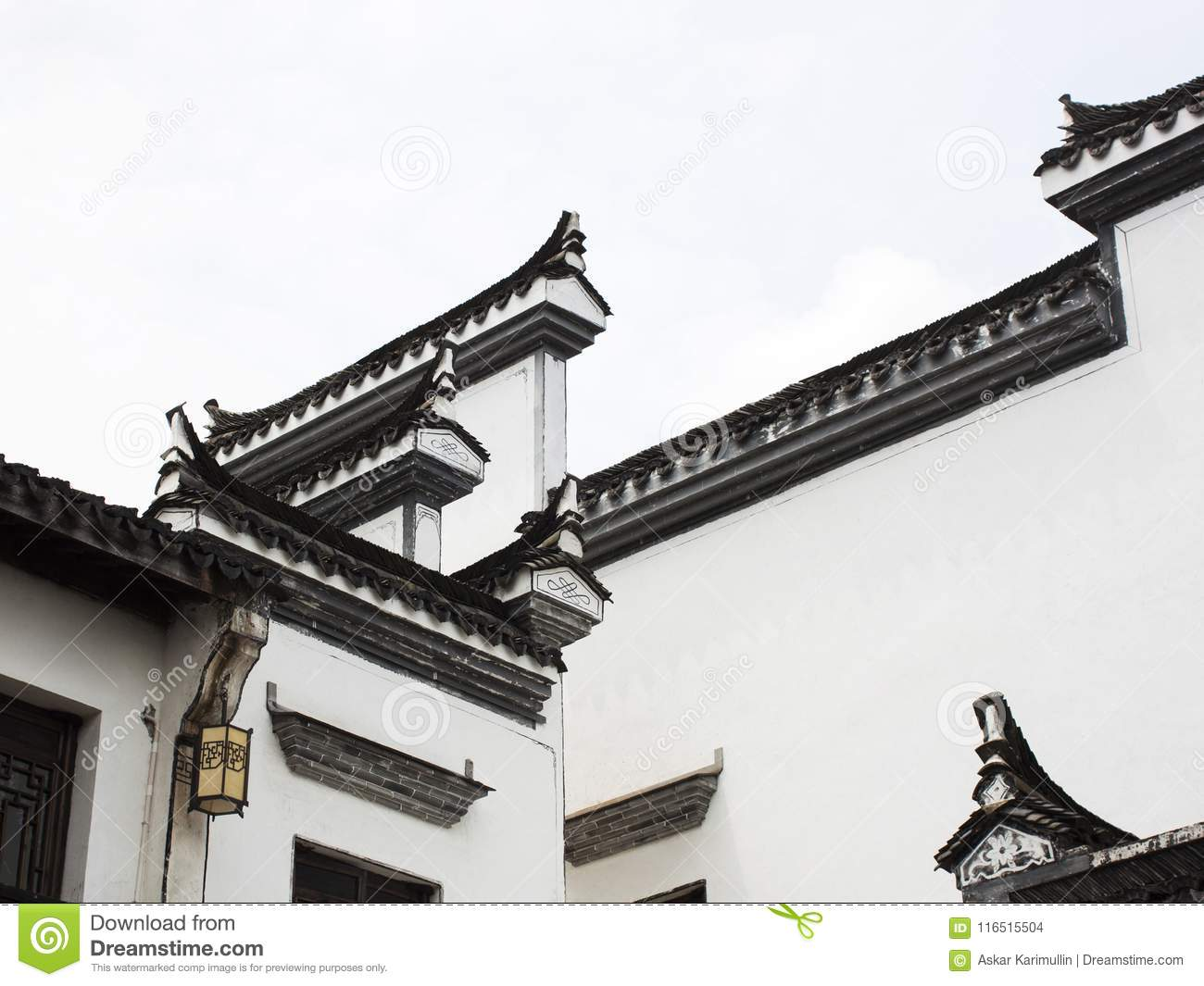 architectural elements of traditional chinese design stock photo