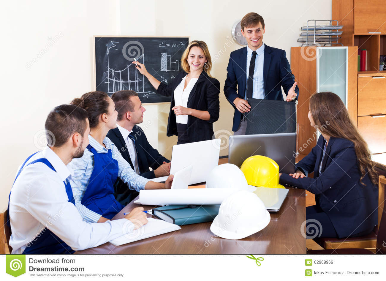 Successful Architects architectural engineers discussing business project stock photo