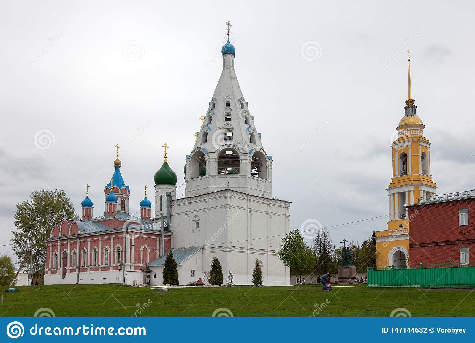 The architectural ensemble of the Cathedral Square in the Kolomna Kremlin.