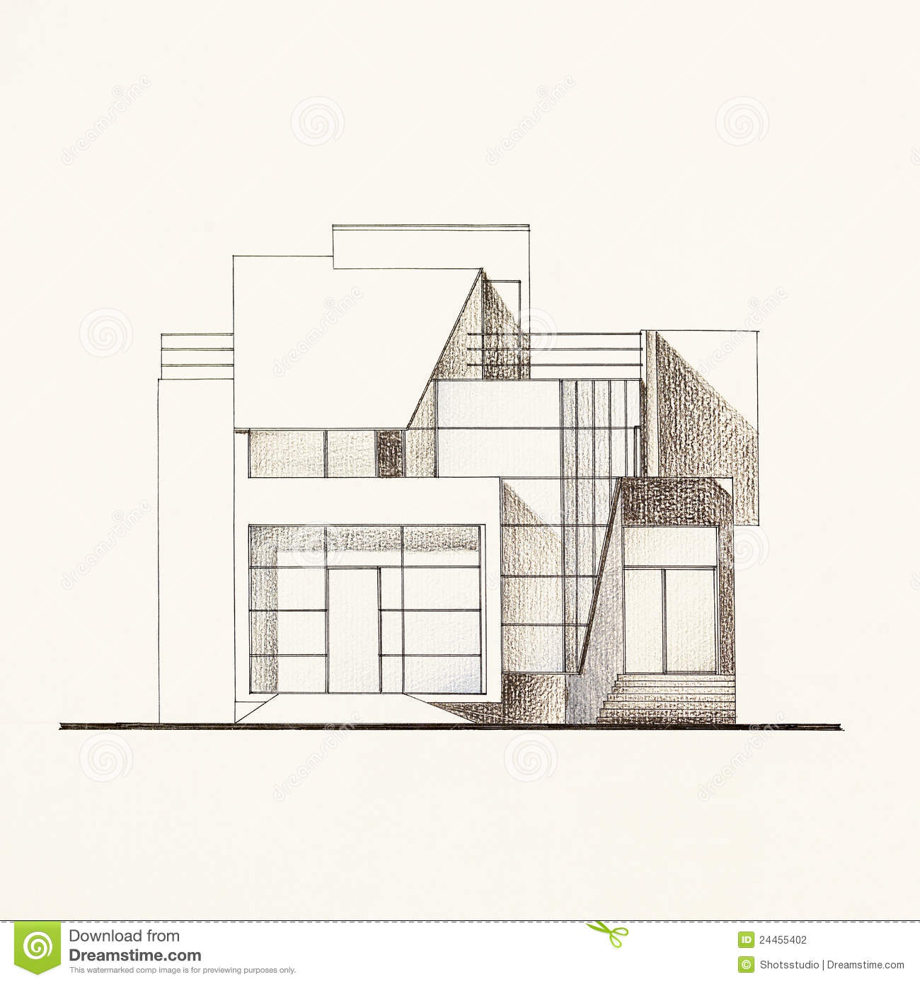 Architectural Facade Blueprint Of A Modern House Stock