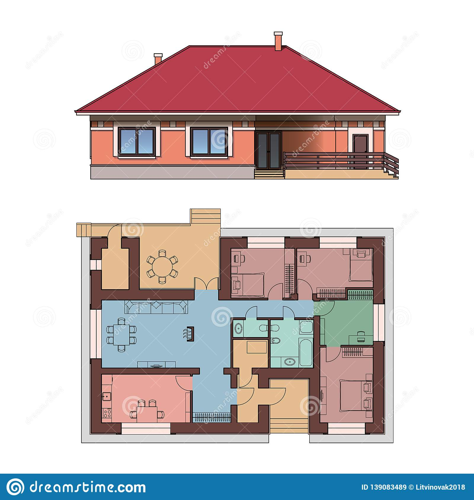 Architectural Facade And Plan Of A House Views Of Single Storey Cottage Vector Realistic Illustration Stock Illustration Illustration Of Estate Housing 139083489
