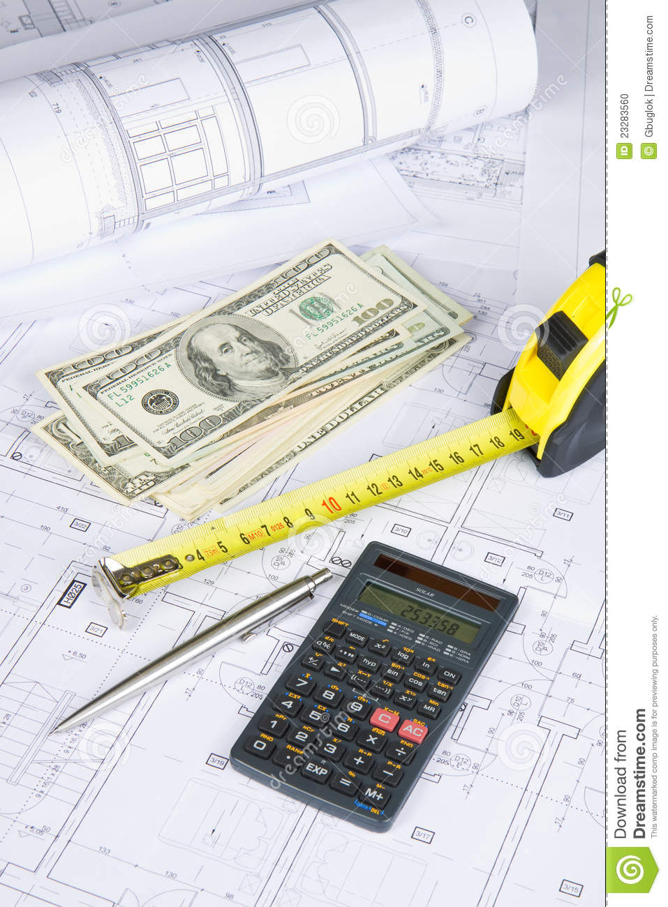 Architectural and financial stock photo image 23283560 for Blueprint estimator