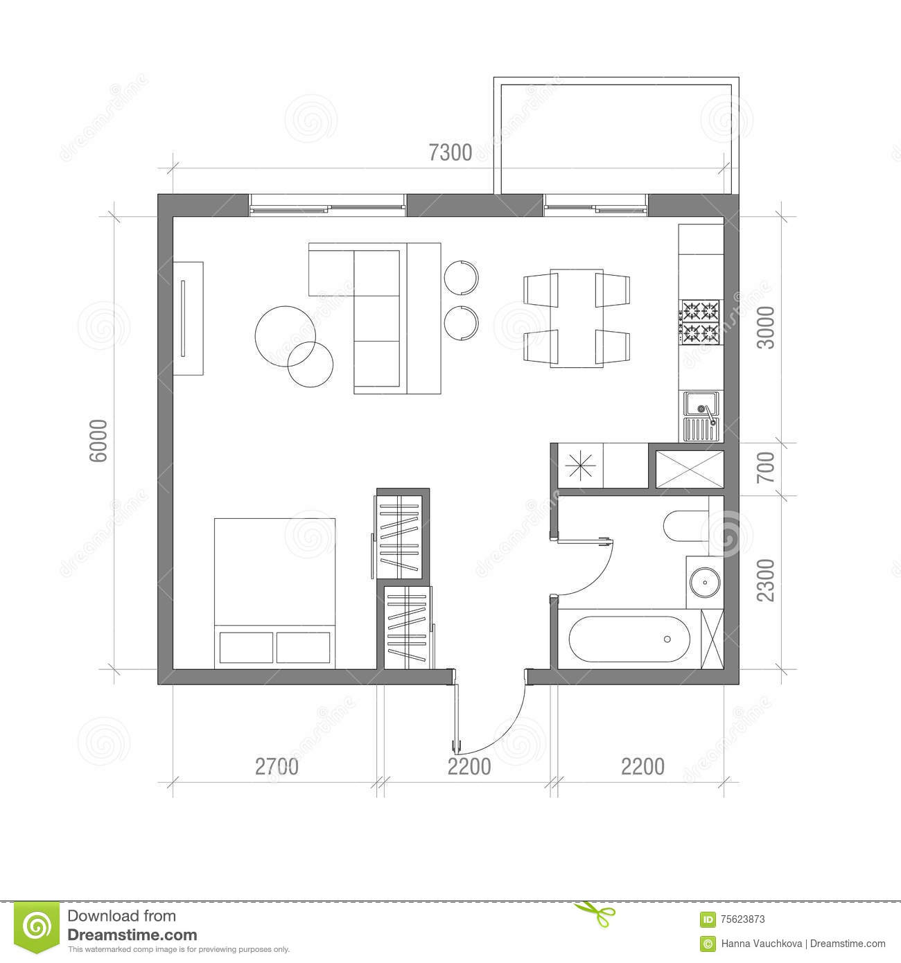 Architectural Floor Plan With Dimensions Studio Apartment