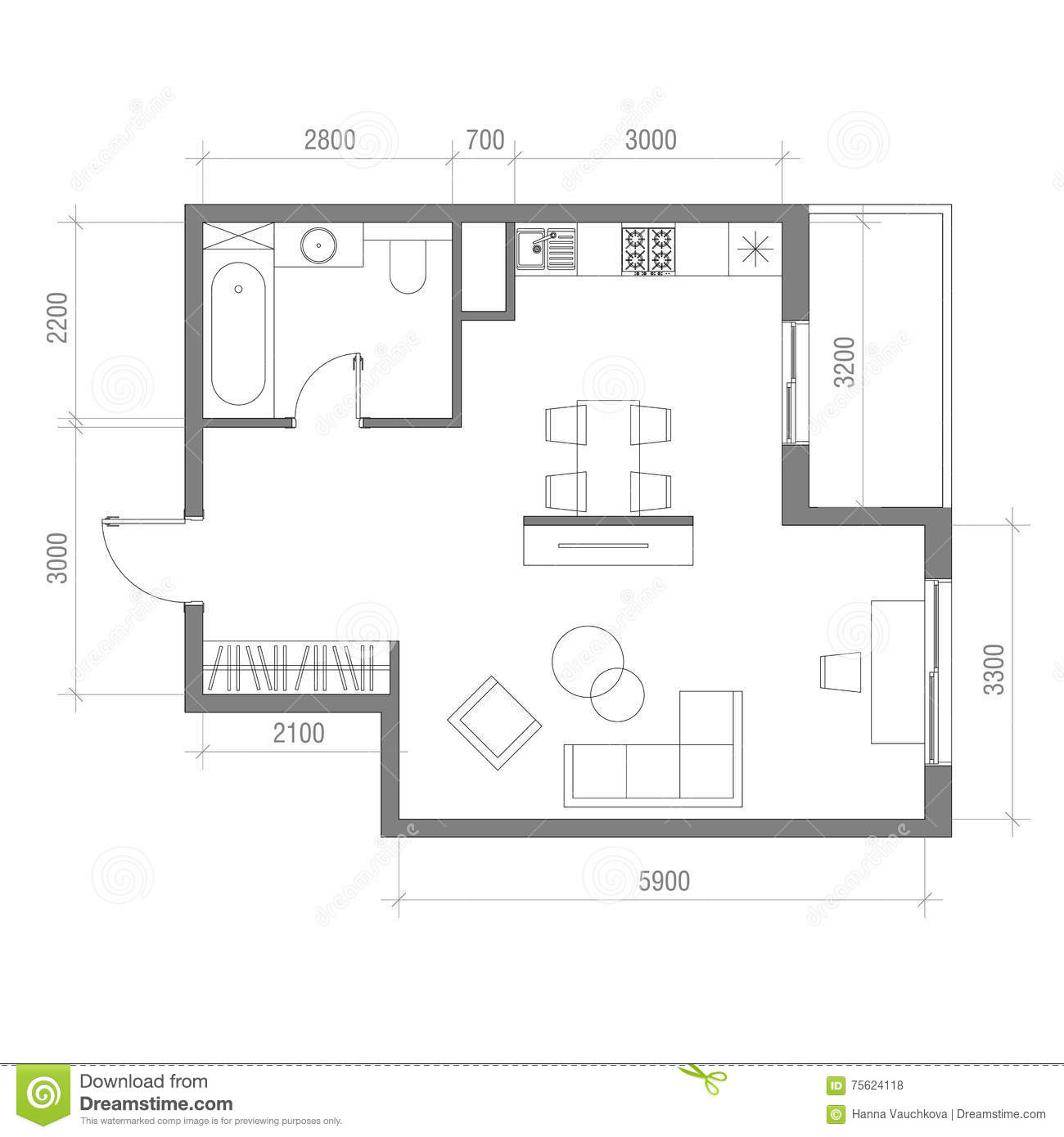 Kitchen Plans With Dimensions: Architectural Floor Plan With Dimensions. Studio Apartment