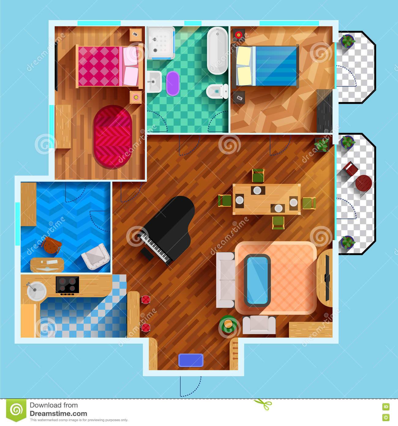 Architectural floor plan stock vector image 74051040 - Architectural plan of two bedroom flat with dining room ...