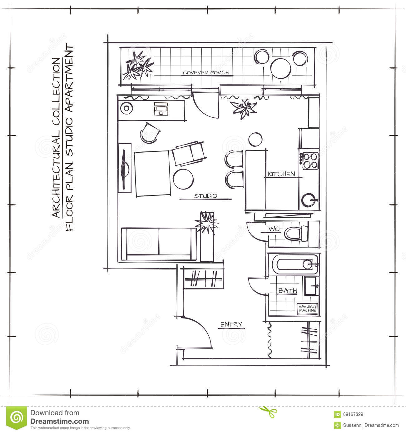 Architectural floor plan stock vector image 68167329 for Architectural design floor plans