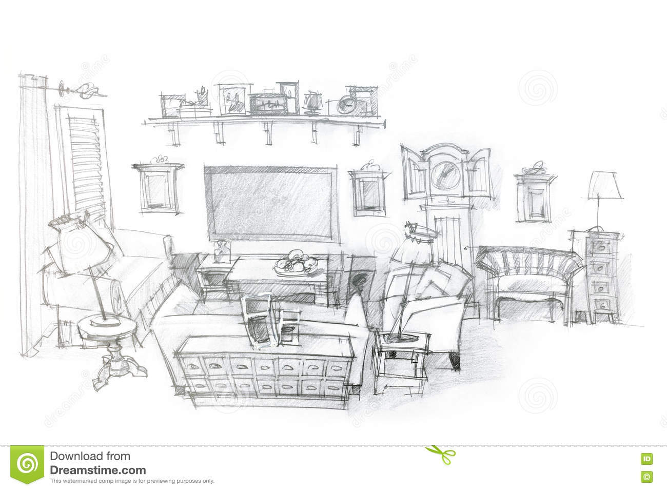 architectural hand drawing of modern living room interior. Black Bedroom Furniture Sets. Home Design Ideas
