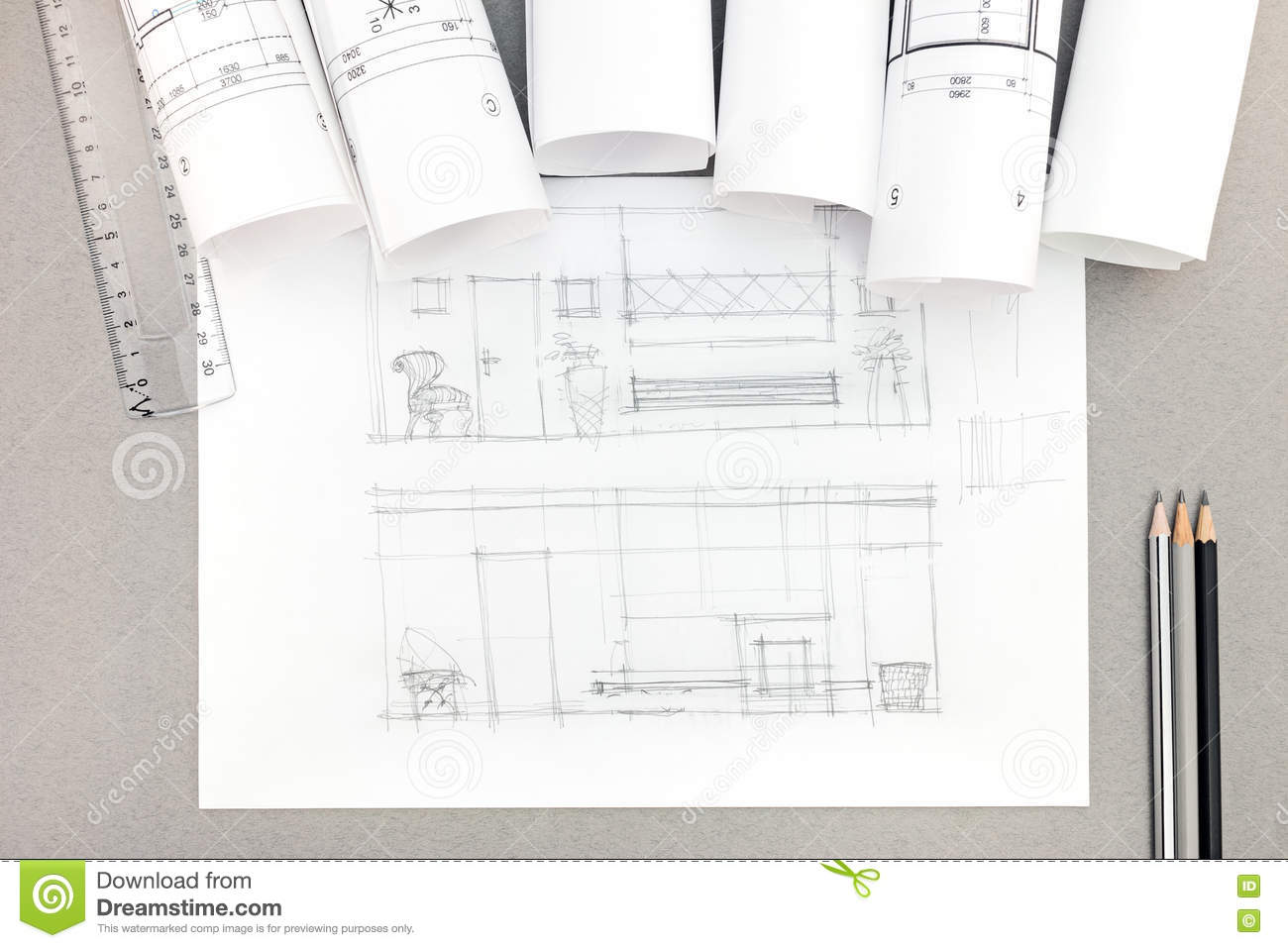 Architectural hand drawn sketch with blueprint rolls on desktop download architectural hand drawn sketch with blueprint rolls on desktop stock image image of malvernweather Image collections