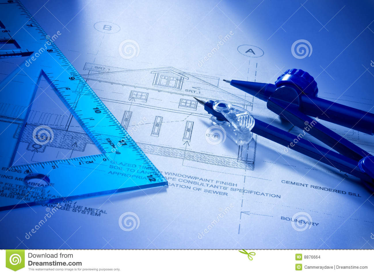 Architectural house building plans stock images image for Architecture blueprints free