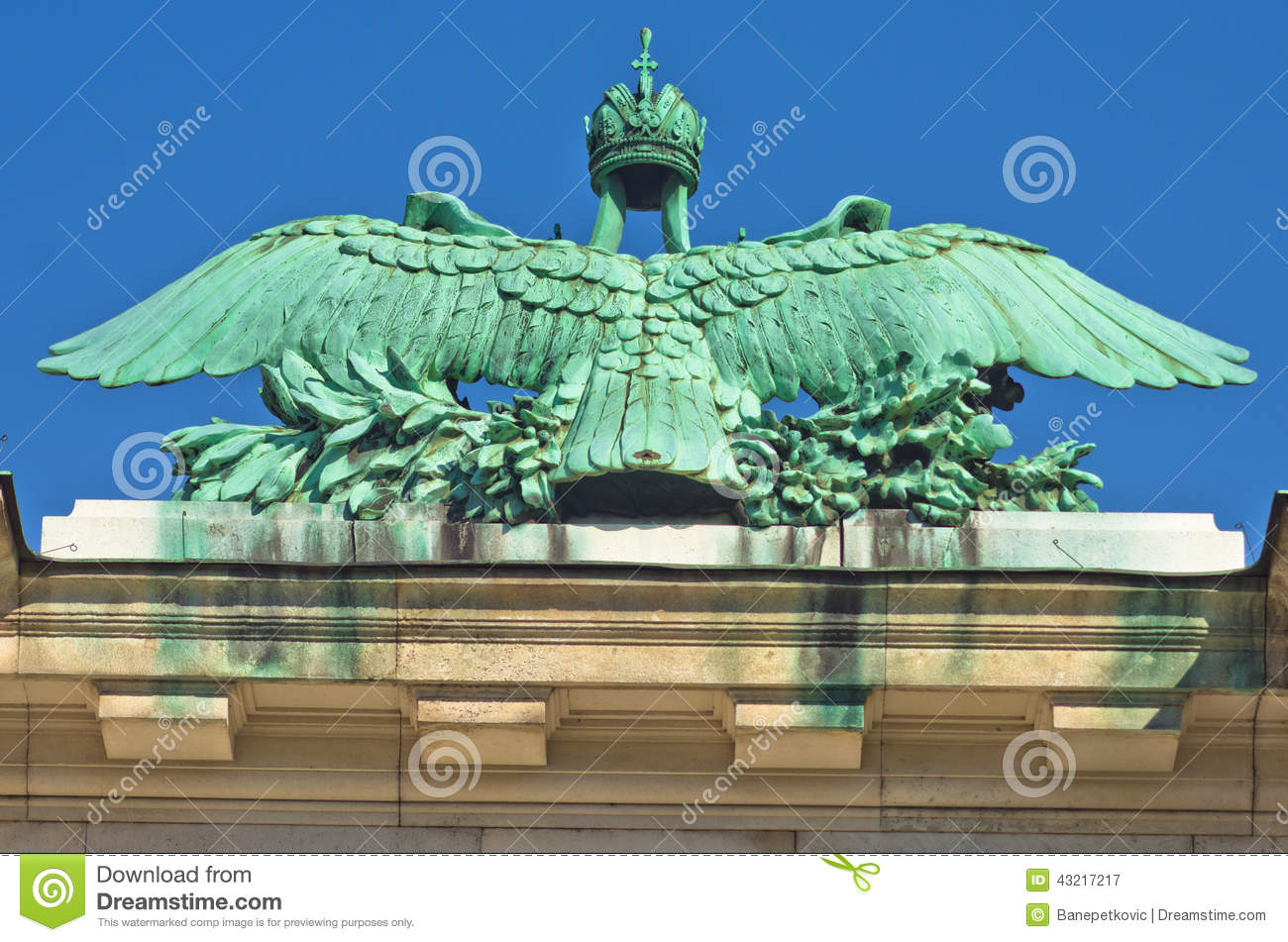 Architectural and imperial heraldry details on Hofburg palace in Vienna