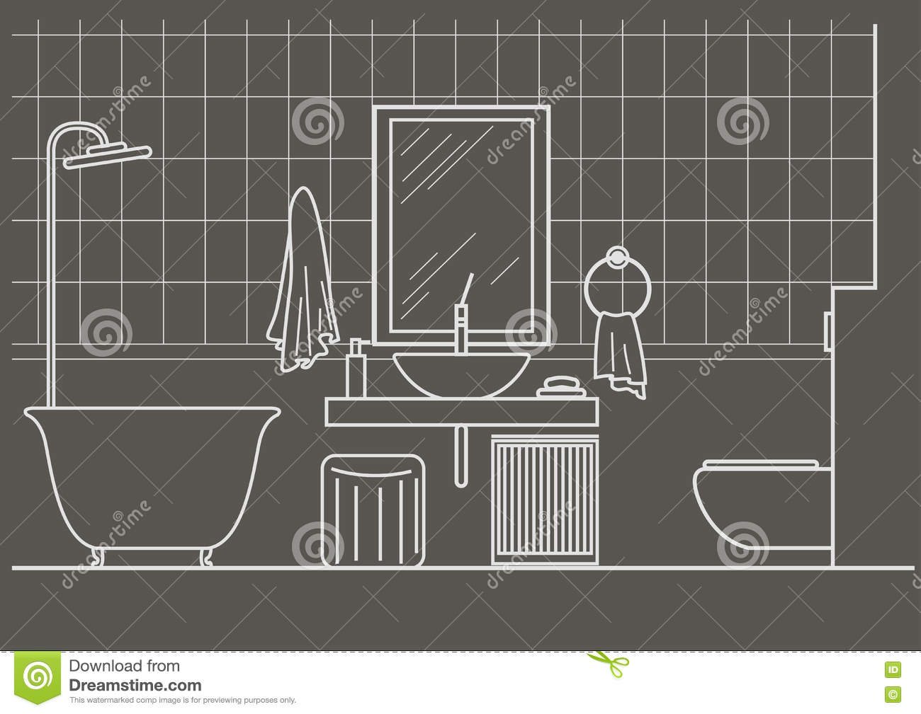 Architectural Sketch Bathroom Interior Front View Stock