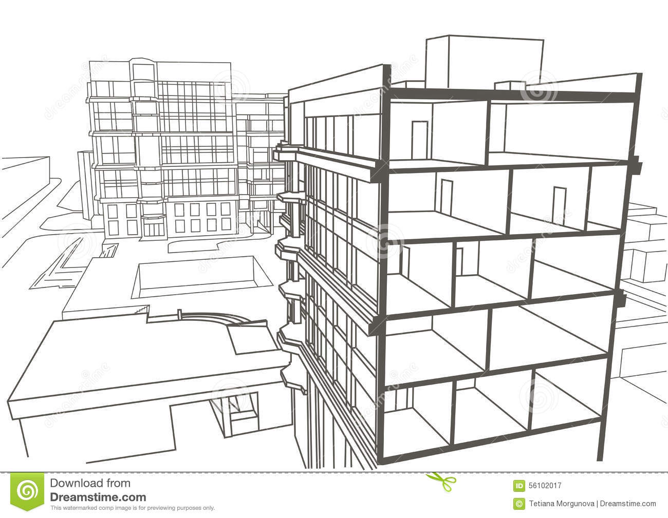 Architectural linear sketch multistory apartment building for Apartment building drawing