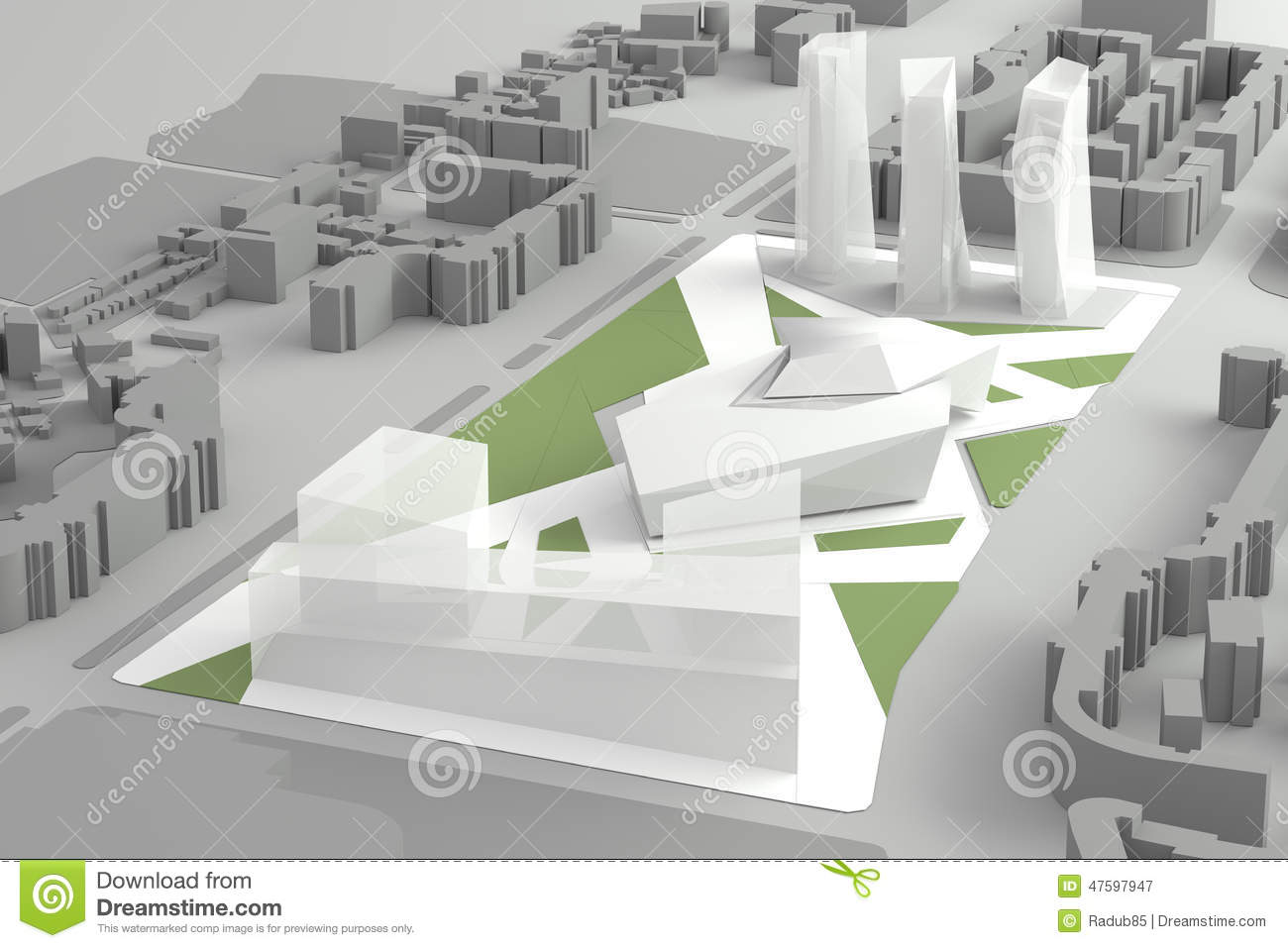 Picture Book Illustration Making An Architectural Model: Architectural Model Of Downtown Financial City Center