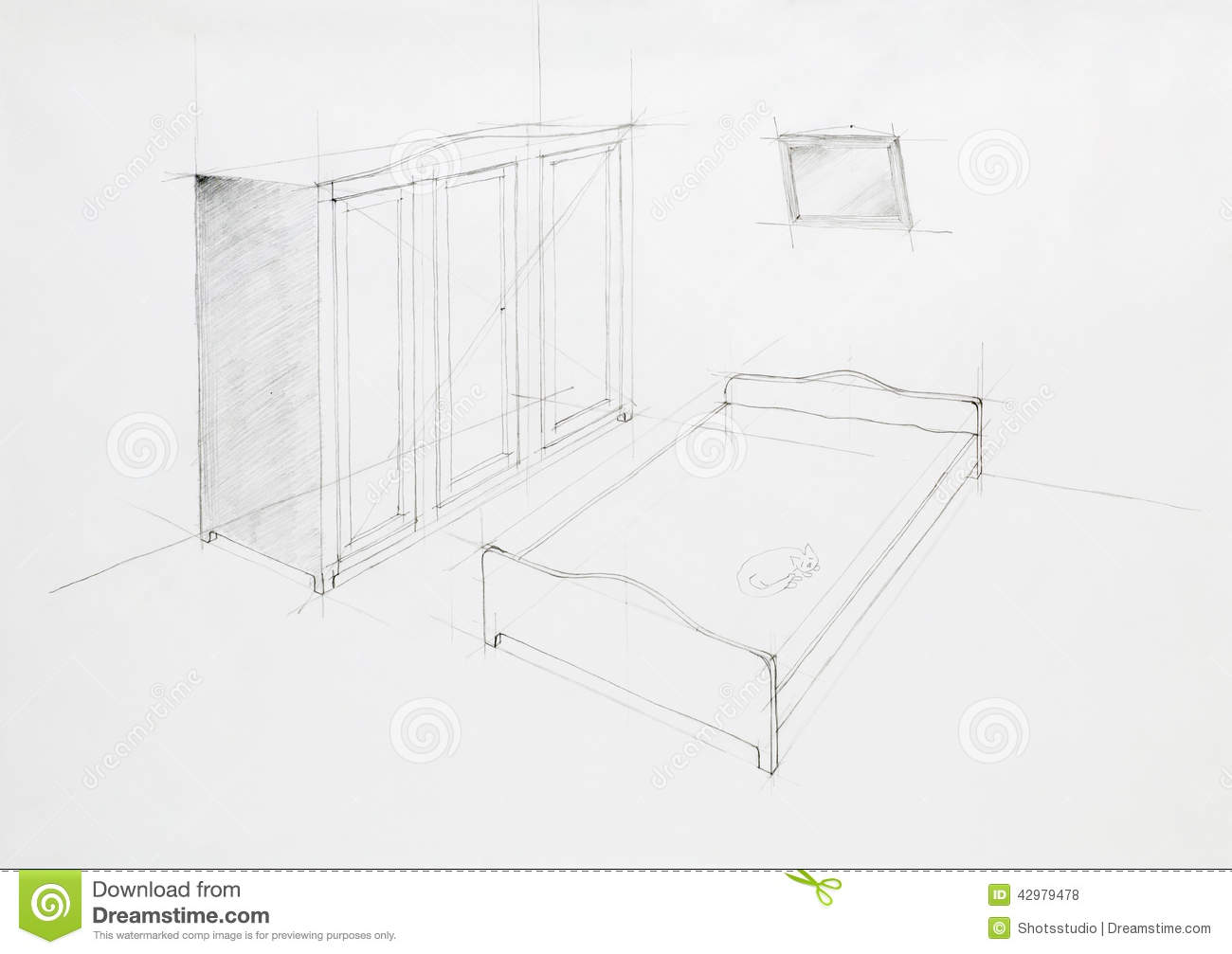 Architectural Perspective Of Bedroom Stock Illustration - Image: 42979478