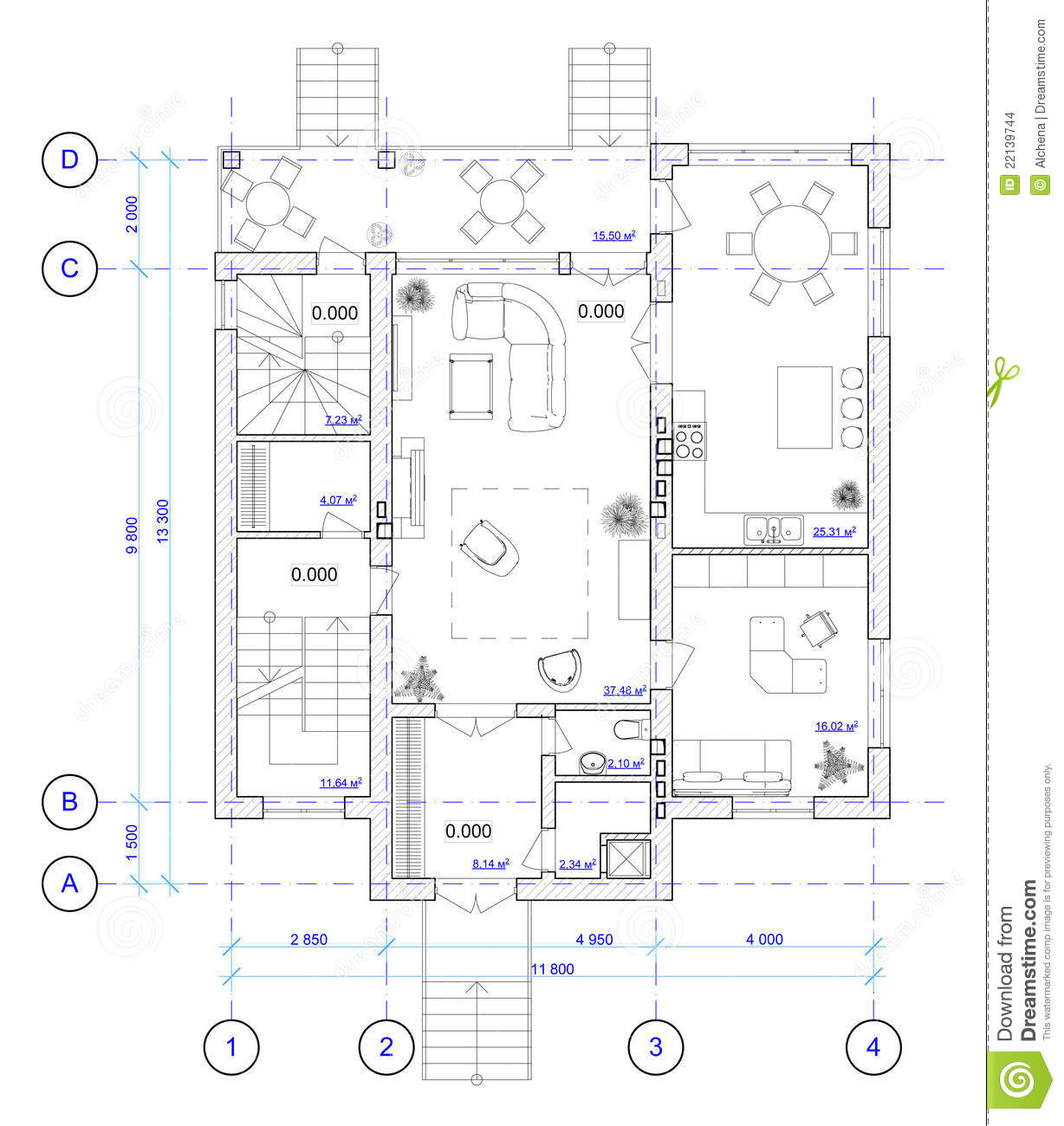 Architectural Plan Of 1 Floor Of House Stock Images  Image: 22139744