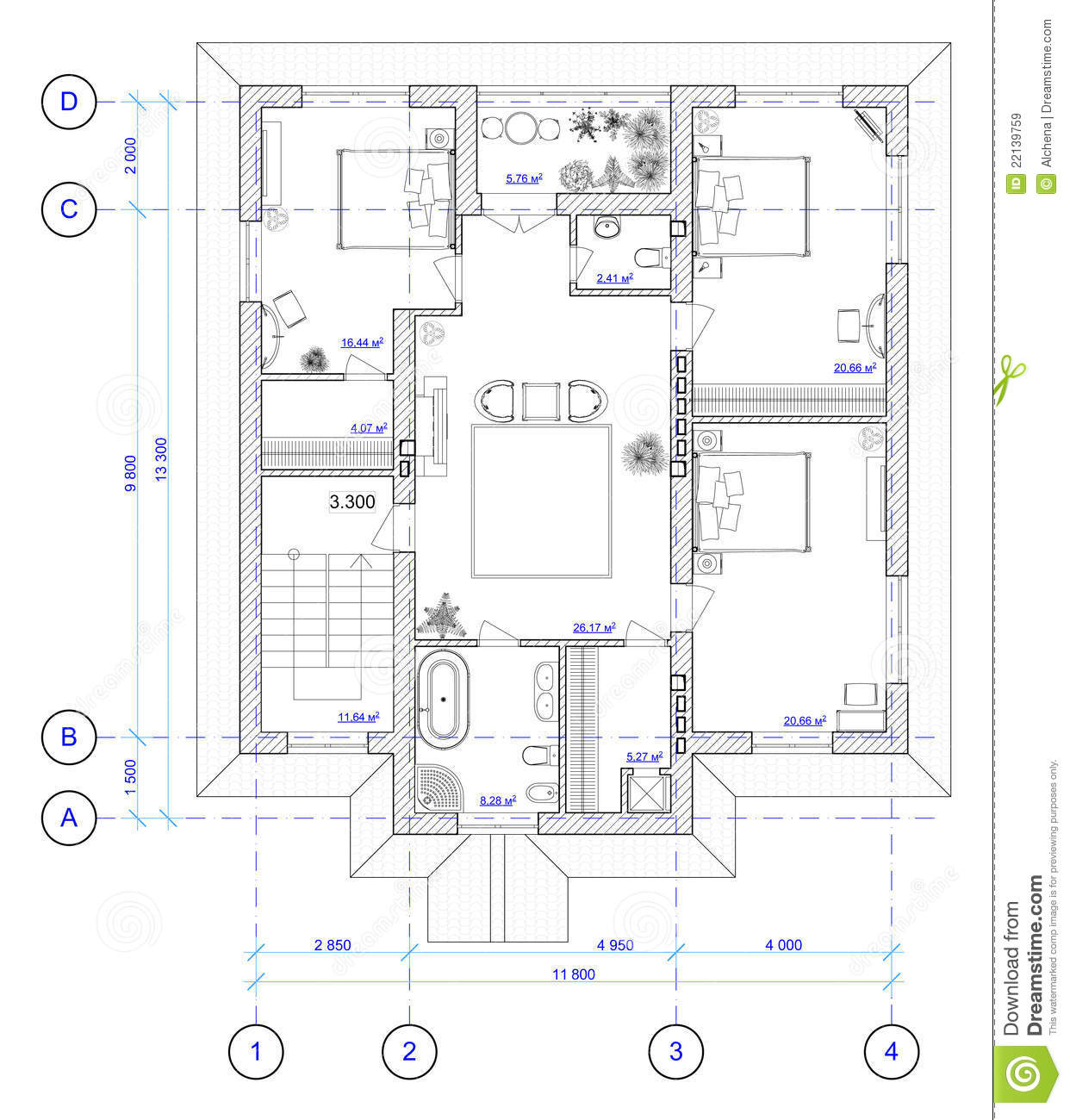 Architectural plan of 2 floor of house stock illustration for Architectural house plan