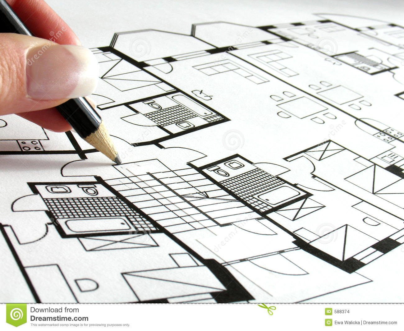 Architectural plan stock photo image of architect blue for Plan architect