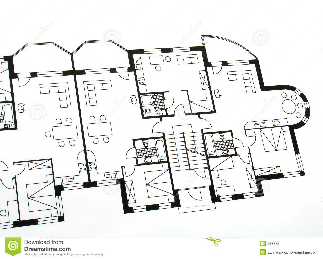 Architectural Plan Stock Photo. Image Of Diagram, Outline