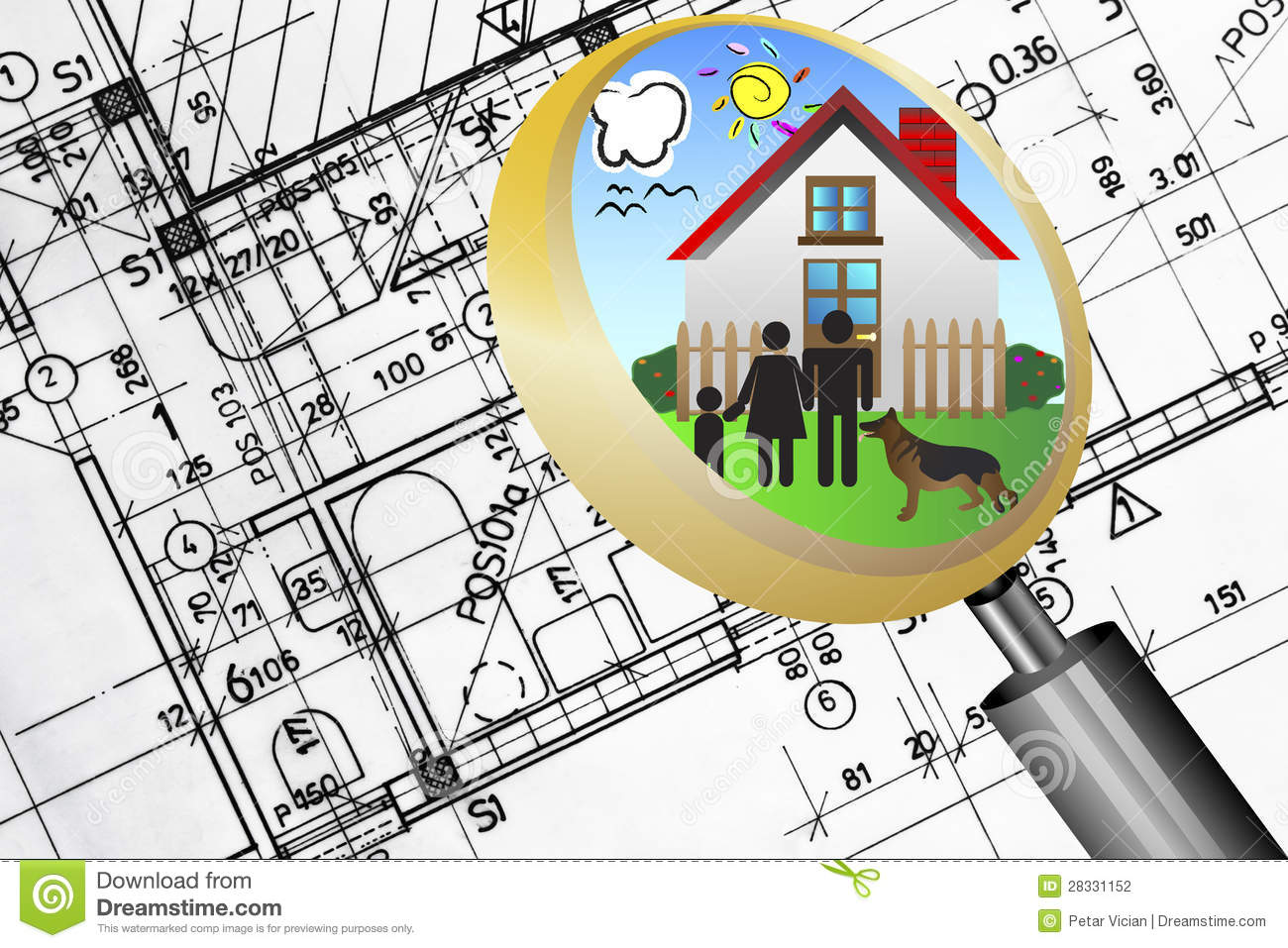 Architectural plan blueprint real estate business concept with architectural plan blueprint real estate business concept with magnifying glass lens happy family stock illustration illustration of choice malvernweather Images