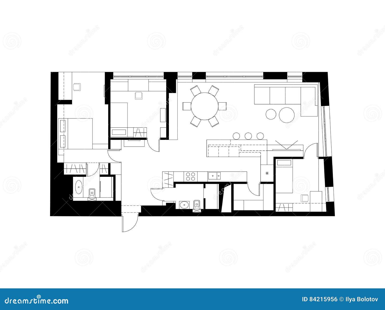 Architect cartoons illustrations vector stock images for Plano habitacion