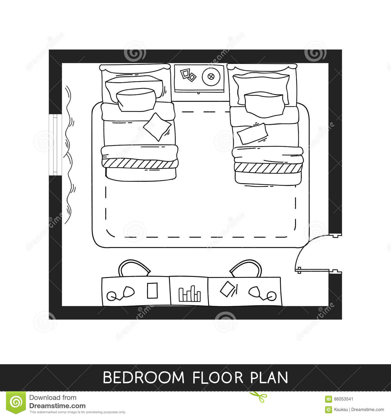 Architectural Plan With Furniture In Top View Stock Vector