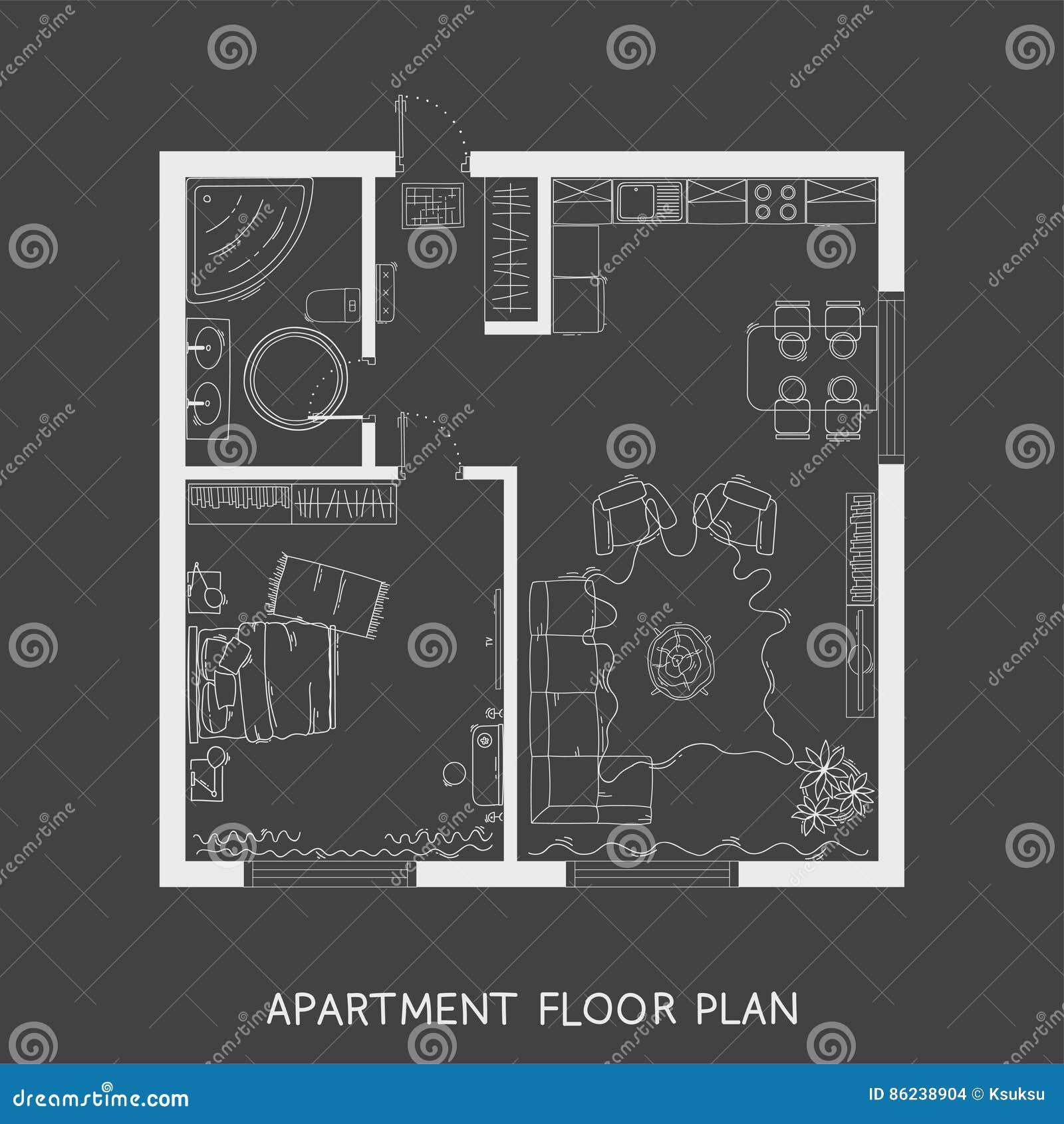 Vector Modern Studio Apartment Top View Illustration Cartoon Vector