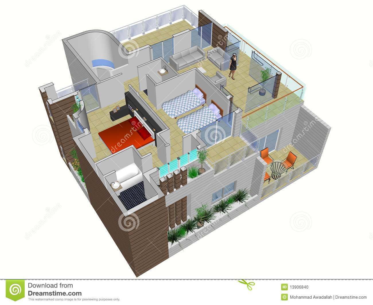 Architectural plan of house stock photo image 13906840 for Three dimensional house plans