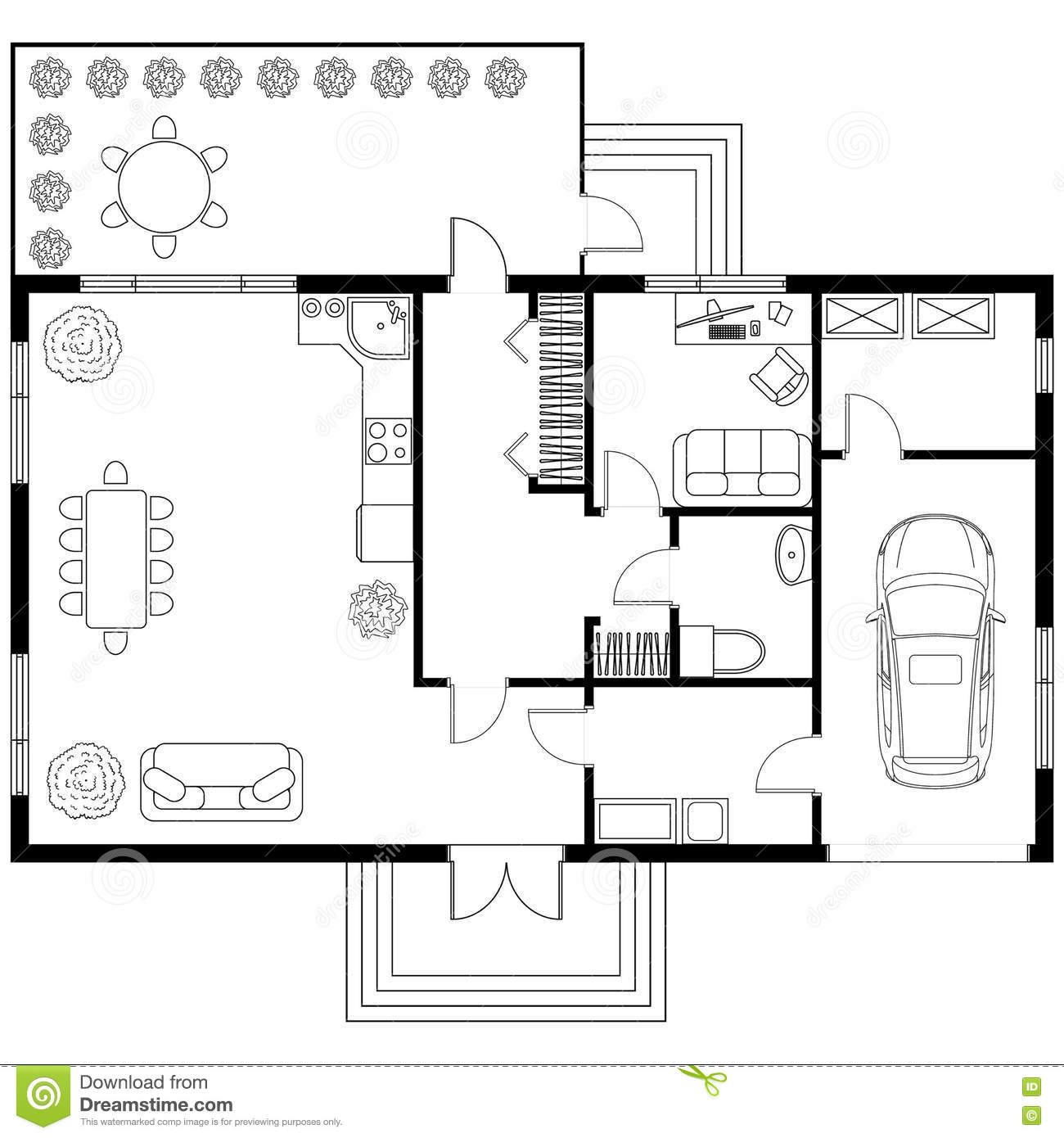Black and white architectural plan of a house layout of for Plan de maison contemporaine a etage