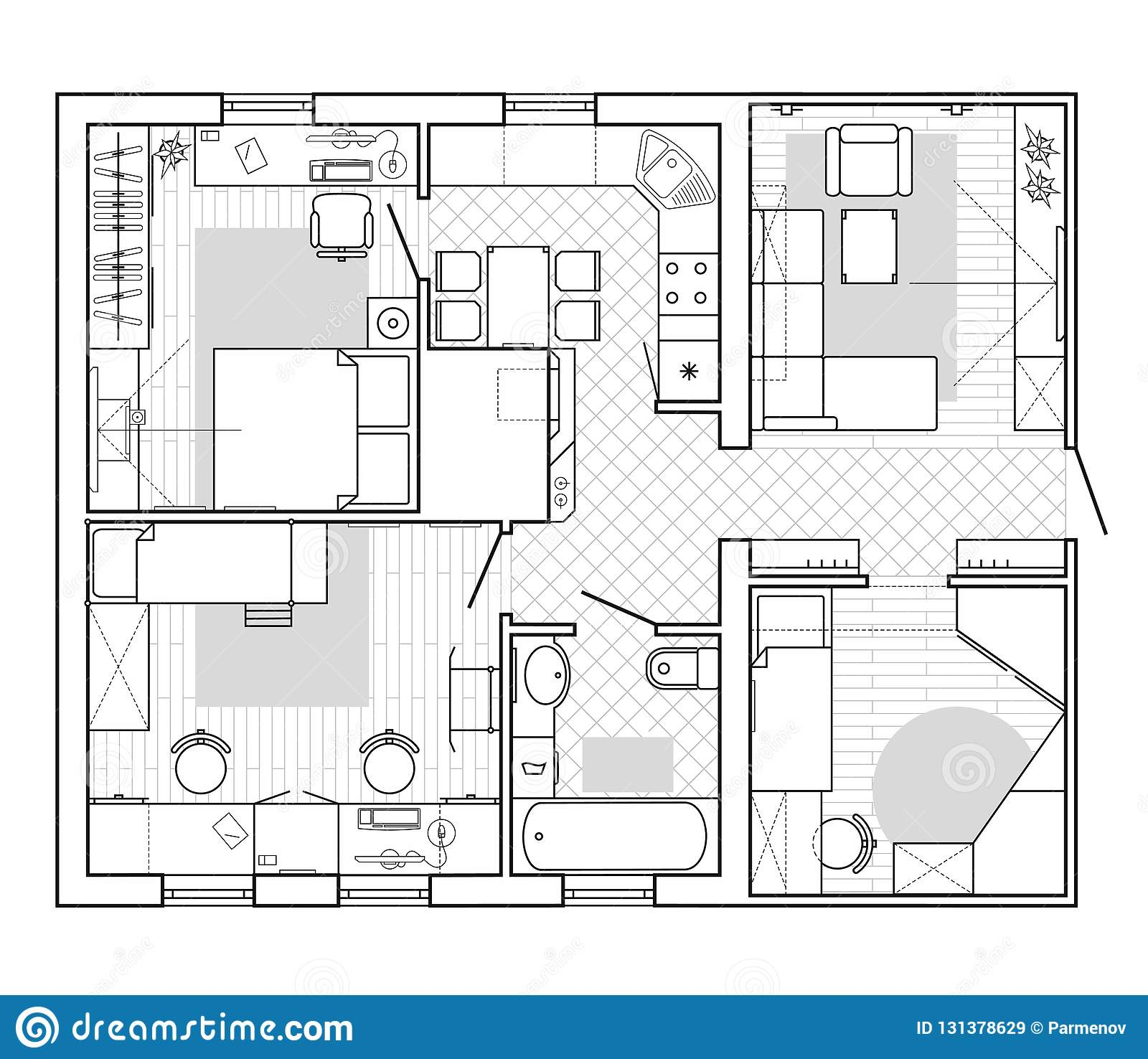 Architectural Plan Of A House Floor Plan Of The Apartment