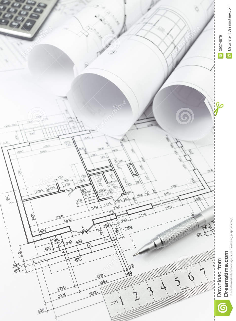 Architectural plan and tools stock image image of for Free architectural drawing program