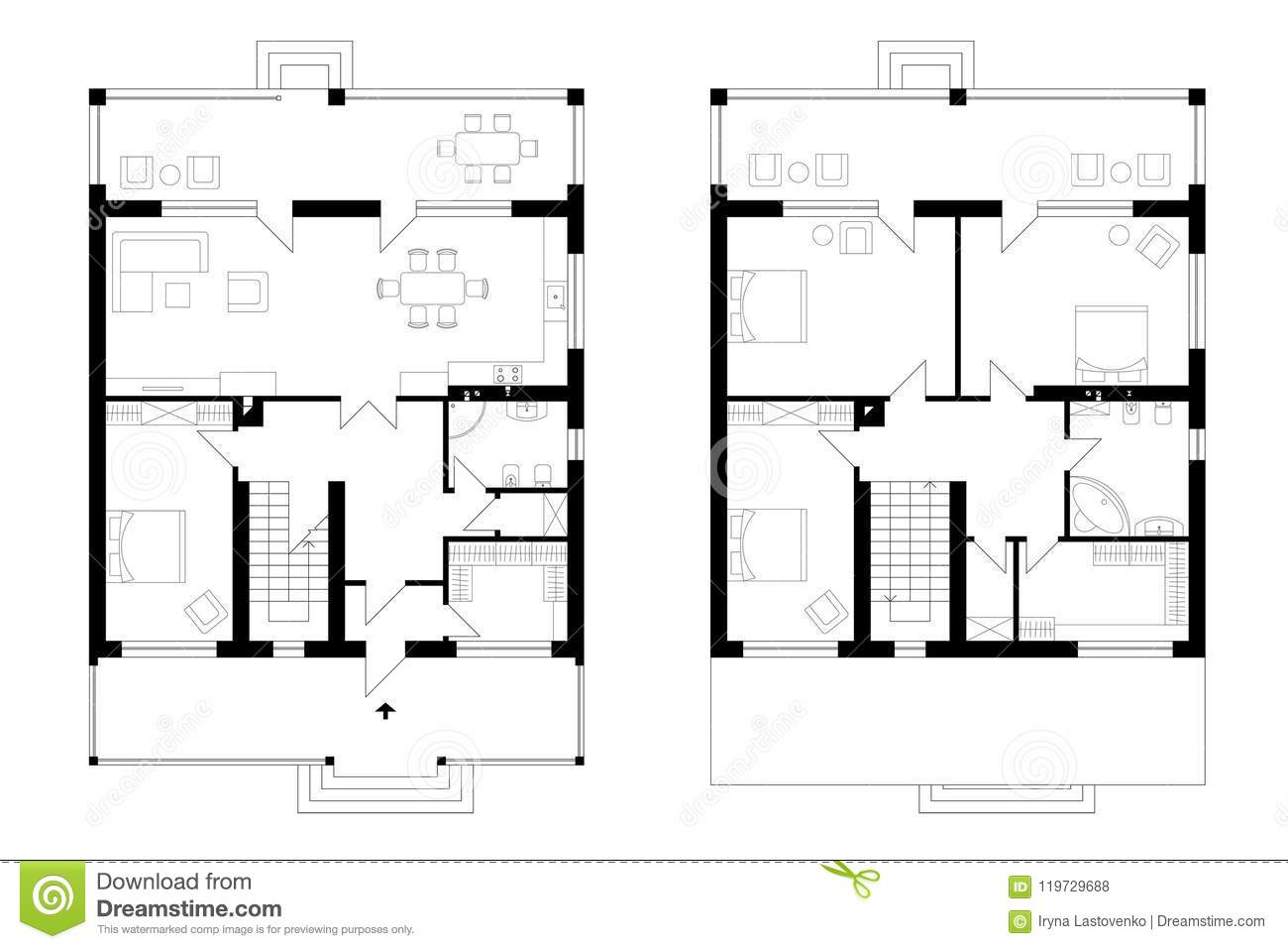 Architectural plan of a two storey manor house with a terrace the layout of an individual two storey house with four bedrooms kitchen living room