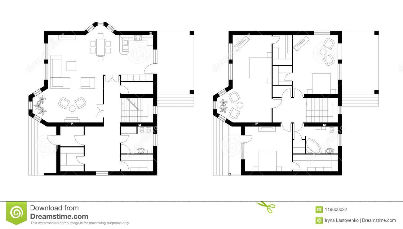 Architectural Plan Of A Two Storey Manor House With A Terrace T