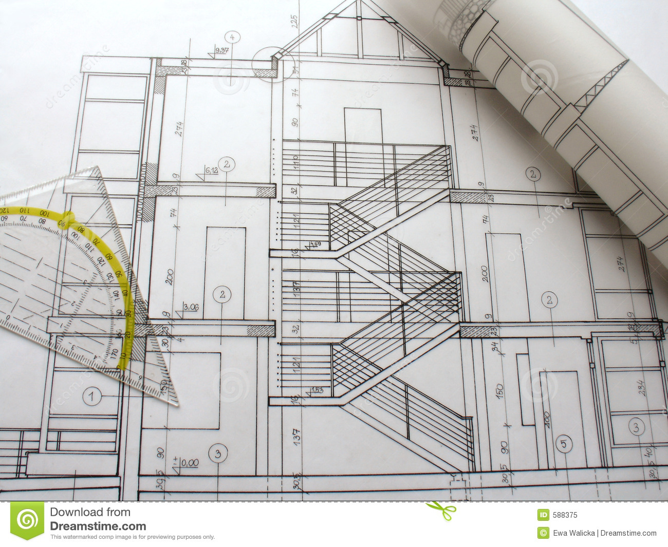 Architectural Plans Stock Image Image Of Background